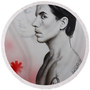 Anthony Kiedis - ' Kiedis Apache Soul ' Round Beach Towel by Christian Chapman Art