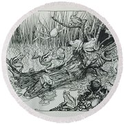 King Log, Illustration From Aesops Fables, Published By Heinemann, 1912 Engraving Round Beach Towel by Arthur Rackham