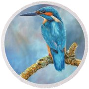Kingfisher Round Beach Towel by David Stribbling