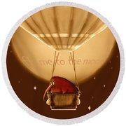 Kiwi Bird Kev - Fly Me To The Moon - Sepia Round Beach Towel by Marlene Watson