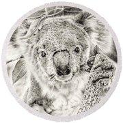 Koala Garage Girl Round Beach Towel by Remrov