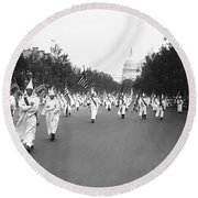 Ku Klux Klan Parade Round Beach Towel by Library of Congress