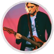 Kurt Cobain In Nirvana Painting Round Beach Towel by Paul Meijering