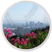 L.a. From Beverly Hills Round Beach Towel by Dany Lison