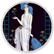 'la Roseraie' Fashion Design For An Evening Dress By The House Of Worth Round Beach Towel by Georges Barbier