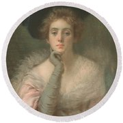 Lady In Pink Round Beach Towel by Joseph W Gies