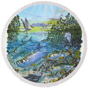 Lagoon Round Beach Towel by Carey Chen