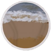 Lake Michigan Shoreline Round Beach Towel by Michelle Calkins