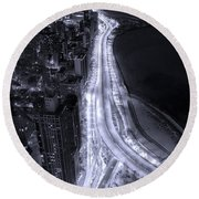 Lake Shore Drive Aerial  B And  W Round Beach Towel by Steve Gadomski