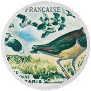 Lapwings Study Of Migration Museum Of Paris Round Beach Towel by Lanjee Chee