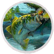 Large Mouth Bass And Blue Gills Round Beach Towel by Savlen Art
