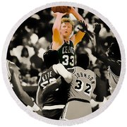 Larry Bird Round Beach Towel by Brian Reaves