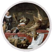 Le Cellier Oil On Canvas Round Beach Towel by Frans Snyders or Snijders