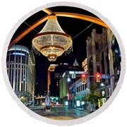 Leaving Playhouse Square Round Beach Towel by Frozen in Time Fine Art Photography
