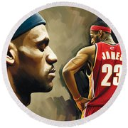 Lebron James Artwork 1 Round Beach Towel by Sheraz A