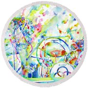 Led Zeppelin Live Concert - Watercolor Painting Round Beach Towel by Fabrizio Cassetta