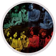 Led Zeppelin Pop Art Collage Round Beach Towel by Dan Sproul