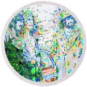 Led Zeppelin - Watercolor Portrait.2 Round Beach Towel by Fabrizio Cassetta
