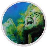 Eddie Vedder - ' Lemon Yellow Sun ' Round Beach Towel by Christian Chapman Art