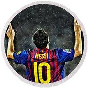 Leo Messi Poster Art Round Beach Towel by Florian Rodarte