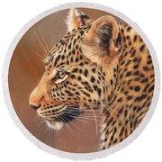 Leopard Portrait Round Beach Towel by David Stribbling