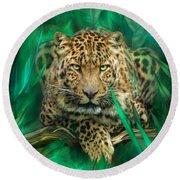 Leopard - Spirit Of Empowerment Round Beach Towel by Carol Cavalaris