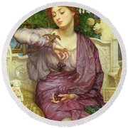 Lesbia And Her Sparrow Round Beach Towel by Sir Edward John Poynter