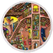 Library Round Beach Towel by Colin Thompson