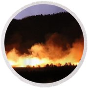 Round Beach Towel featuring the photograph Lightning During Wildfire by Bill Gabbert