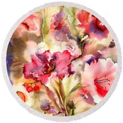 Lilies Round Beach Towel by Neela Pushparaj