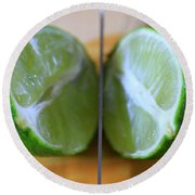 Lime Halves Round Beach Towel by Dan Sproul