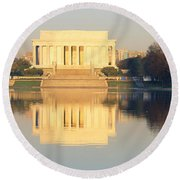 Lincoln Memorial & Reflecting Pool Round Beach Towel by Panoramic Images