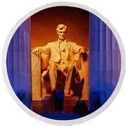 Lincoln Memorial, Washington Dc Round Beach Towel by Panoramic Images