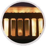 Lincoln Memorial Washington Dc Usa Round Beach Towel by Panoramic Images