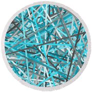 Link - Turquoise And Gray Abstract Round Beach Towel by Lourry Legarde