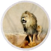 Lion Round Beach Towel by Heike Hultsch
