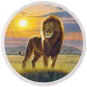 Lion Round Beach Towel by MGL Studio - Chris Hiett
