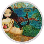 Little Mermaid Round Beach Towel by Shijun Munns