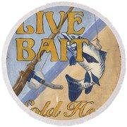 Live Bait Round Beach Towel by Debbie DeWitt