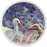 Living Between Beaks Round Beach Towel by James W Johnson
