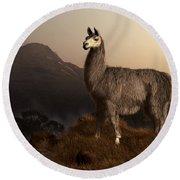 Llama Dawn Round Beach Towel by Daniel Eskridge