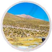 Llama Landscape Round Beach Towel by Jess Kraft