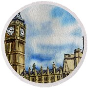 London England Big Ben Round Beach Towel by Irina Sztukowski