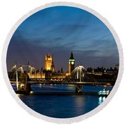 London Eye And Central London Skyline Round Beach Towel by Panoramic Images