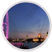 London Eye Round Beach Towel by Rod McLean