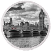 London - Houses Of Parliament And Red Buses Round Beach Towel by Melanie Viola