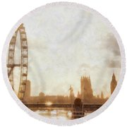 London Skyline At Dusk 01 Round Beach Towel by Pixel  Chimp