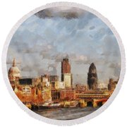 London Skyline From The River  Round Beach Towel by Pixel Chimp