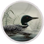 Loon Near The Shore Round Beach Towel by James Williamson