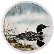 Loons Misty Shore Round Beach Towel by James Williamson